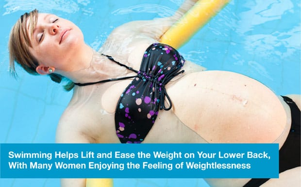 Swimming helps lift and ease the weight on your lower back