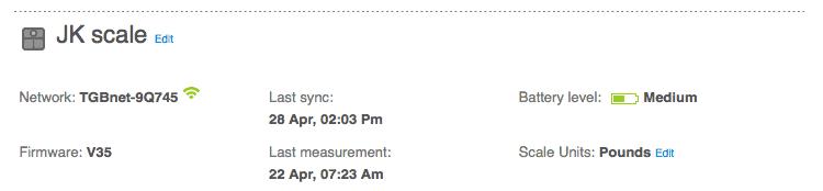 Fitbit dashboard settings – Aria scale