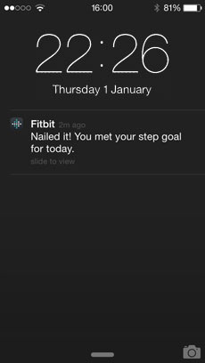 Fitbit push notifications – step goal achieved