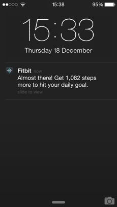 Fitbit push notifications – step goal almost there