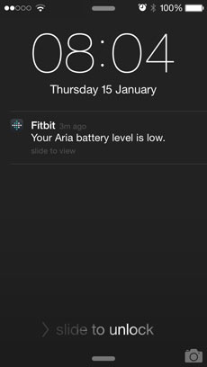 Fitbit push notifications – Your Aria battery level is low