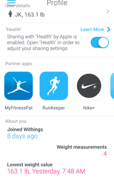 Smart Body Analyzer sharing measurements with Apple Health – step 1