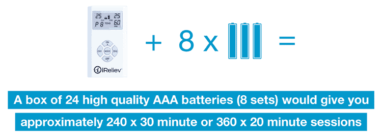 a box of 24 batteries would give you approximately 240 x 30 minute sessions