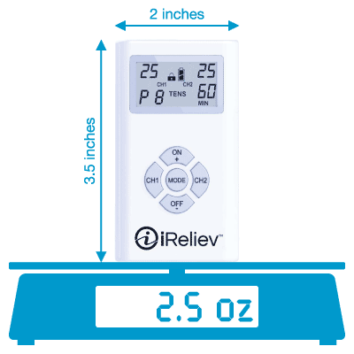 iReliev ET-1313 weighs 2.5 oz with the batteries included and is 3.5 inches tall and 2 inches wide