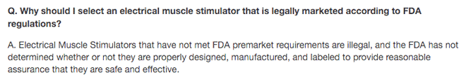 Why you should select an electrical muscle stimulator that is legally marketed according to FDA regulations