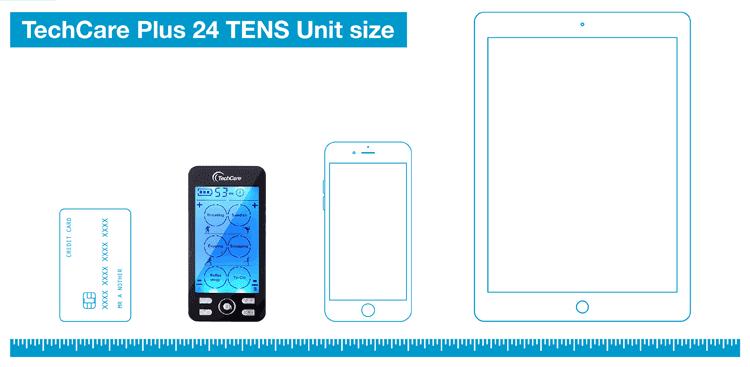 TechCare Plus 24 Modes TENS Unit size