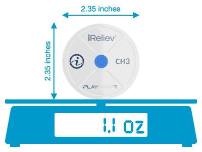 each iReliev PlayMakar wireless pod weighs 1.1 oz